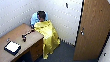 Michael Rafferty is seen in a video that was not released to jury members.