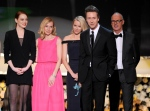 Emma Stone, from left, Amy Ryan, Naomi Watts, Edward Norton, and Michael Keaton accept the award for outstanding performance by a cast in a motion picture for 'Birdman' on stage at the 21st annual Screen Actors Guild Awards at the Shrine Auditorium in Los Angeles on Sunday, Jan. 25, 2015. (Invision / Vince Bucci)