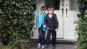 Quinn Callandar, left, is pictured with his best friend, Brayden Grozdanich.