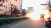 Extended: Dash cam captures explosion in Mariupol