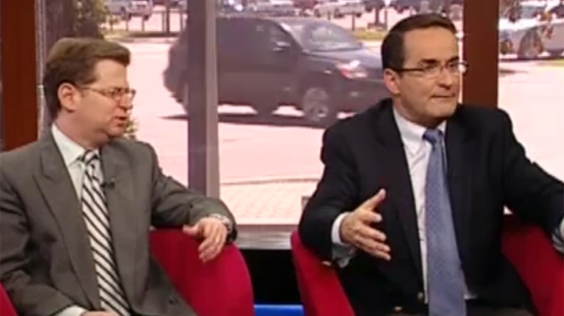 Robert Libman and Jean Lapierre discuss Quebec's ongoing tuition protests in this undated file photo.
