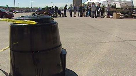 The City of Winnipeg's compost bin and rain barrel drew long lines and prompted early sell-outs Saturday.