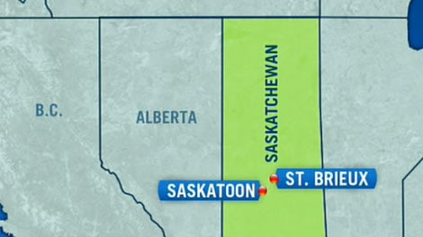 A map shows the area of the plane crash in proximity to Saskatoon in this image taken from video.