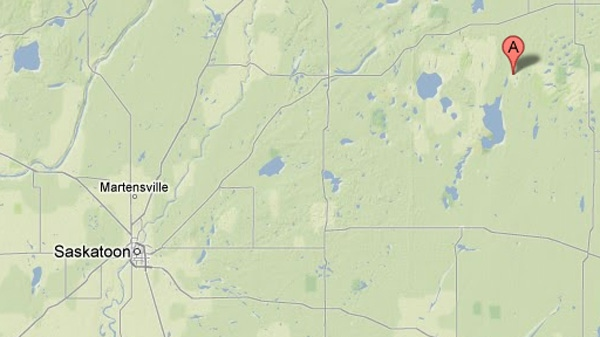 Two small airplanes collided in mid-air and crashed near St. Brieux, Sask., located about 180 kilometres northeast of Saskatoon, on Saturday, May 12, 2012. (Google Maps)