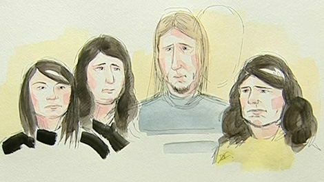 The four suspects are seen in this sketch after being formally charged in connection to subway smoke bombs in Montreal.
