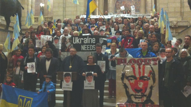 A rally at the Manitoba Legislative Building Monday evening in support of Nadiya Savchenko.
