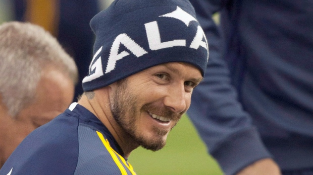 David Beckham practices with the Los Angeles Galaxy on May 11, 2012.