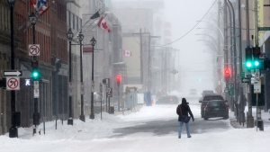 A pedestrian crosses a street as a major winter storm hits in Halifax on Tuesday, Jan. 27, 2015.  (Andrew Vaughan / THE CANADIAN PRESS)