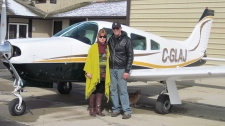 This undated family handout photo shows Denny Loree with wife Joan Loree. Denny Loree was the pilot of the Piper PA-28 (shown) that collided mid-air with a Lake Buccaneer near St. Brieux, Sask. on Saturday, May 12, 2012. (THE CANADIAN PRESS / HO)