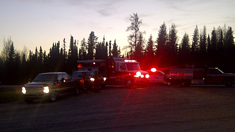 Roadblock set up a Hwy 620 & Range Road 91 near Lodgepole, Alberta. Fireworkers worked through the night Saturday to try and contain a wildfire that prompted evacuation warnings. May 12.