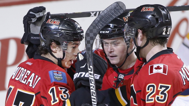The long-time duo of Johnny Gaudreau, left, and Sean Monahan, right, will be split up on Saturday against the Edmonton Oilers. (File photo)