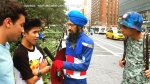 Vishavjit Singh speaks to New Yorkers about his Sikh Captain America costume in this image from the documentary 'Red, White and Beard.' (YouTube / Sikh Captain America)