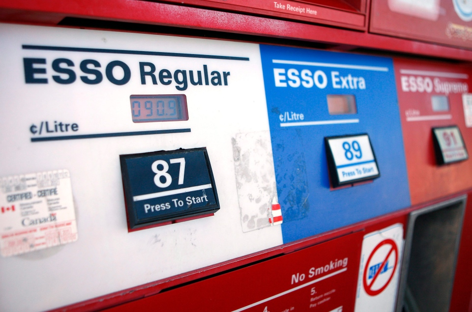 Fuel prices at an Esso station are seen at the pump in Calgary, Monday, Feb. 1, 2010. (Jeff McIntosh / THE CANADIAN PRESS)