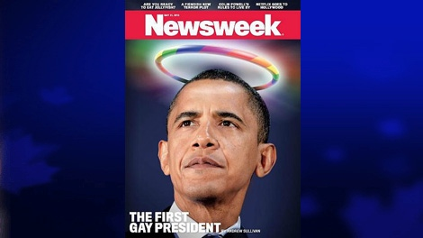 The cover of Newsweek's issue featuring U.S. President Barack Obama as 'The First Gay President' is shown. (Newsweek)