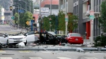 Scene of a car crash in West Hollywood, Calif., on July 4, 2014. (AP / Richard Vogel)