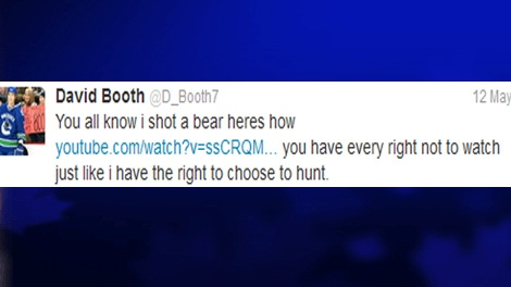 Canucks forward David Booth tweeted about killing a bear, Saturday, May 12, 2012.
