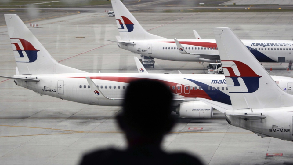 A man views a fleet of Malaysia Airlines planes on the tarmac of the Kuala Lumpur International Airport, in Malaysia, Thursday, Jan. 29, 2015. (AP / Joshua Paul)