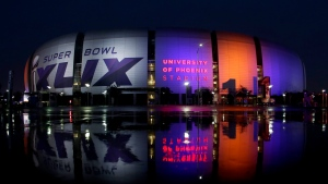 The Super Bowl XLIX is displayed on the University of Phoenix Stadium, in Glendale, Ariz., Thursday, Jan. 29, 2015. (AP / Charlie Riedel)