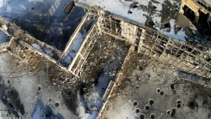 This photo taken by a drone on Thursday, Jan. 15, 2015 shows the destroyed airport in Donetsk, eastern Ukraine. (AP / ArmySOS)