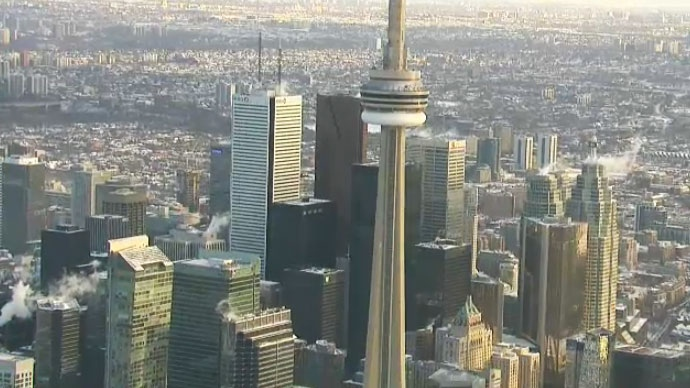 The Toronto skyline is seen from the CTV News chopper on Friday morning, Jan. 30, 2015.