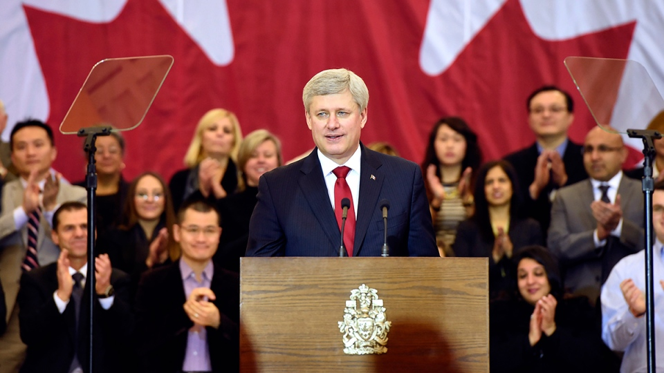 Prime Minister Stephen Harper makes an announcement in Richmond Hill, Ont., on Friday, Jan. 30, 2015. (Frank Gunn / THE CANADIAN PRESS)