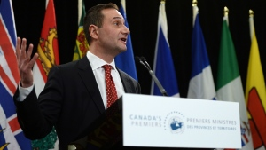 Prince Edward Island Premier Robert Ghiz speaks to reporters as he chairs Canada's premiers meeting in Ottawa on Friday, January 30, 2015. (Sean Kilpatrick / THE CANADIAN PRESS)