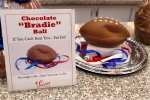 "A ""deflated"" chocolate football called a ""Bradie"" Ball is on display at Sarris Candy store in in Canonsburg, Pa., on Jan. 28, 2015. (Keith Srakocic / AP Photo)"