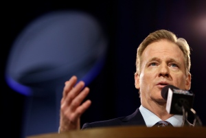 NFL Commissioner Roger Goodell participates in a news conference for NFL Super Bowl XLIX football game on Jan. 30, 2015, in Phoenix. (Matt Slocum / AP Photo)