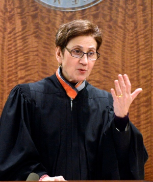 Fall River Superior Court Judge Susan Garsh instructs the jury before dismissing them for the day during former New England Patriots football player Aaron Hernandez's murder trial on Jan. 30, 2015, in Fall River, Mass. (The Boston Herald, Ted Fitzgerald, Pool / AP Photo)