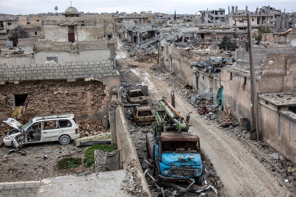 Rubble and damaged buildings are seen in the devastated Syrian city of Ain al-Arab, also known as Kobani, Friday, Jan. 30, 2015. (AP)