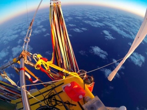 The helium-filled balloon carrying Troy Bradley of Albuquerque and Leonid Tiukhtyaev of Russia crosses the Pacific Ocean after taking off from Saga, Japan, Jan. 26, 2015. (Two Eagles Balloon Team)