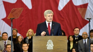Prime Minister Stephen Harper makes an announcement in Richmond Hill, Ont., on Friday, Jan. 30, 2015. (Frank Gunn / THE CANADIAN PRESS