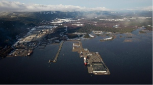 Douglas Channel, the proposed termination point for an oil pipeline in the Enbridge Northern Gateway Project, is pictured in an aerial view in Kitimat, B.C., on Tue, Jan. 10, 2012. A draft federal report says environmental threats from oil and bitumen pipelines are unknown. (Darryl Dyck / THE CANADIAN PRESS)