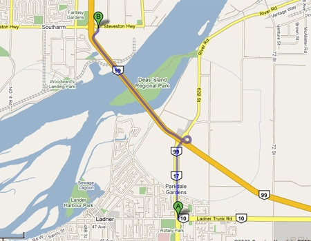 A Google map shows the route a B.C. man was dragged under a bus on Friday night.