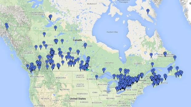 Great Canadian Tobogganing Map