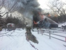 Fire engulfed the livestock barn at Storybook Gardens on Feb.3, 2015. (Justin Zadorsky/CTV London)