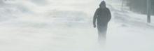 A pedestrian walks through snow in P.E.I.