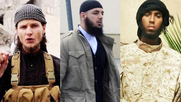 Left to right, John Maguire, Awso Peshdary, and Khadar Khalib in a combination photo. (RCMP handout)