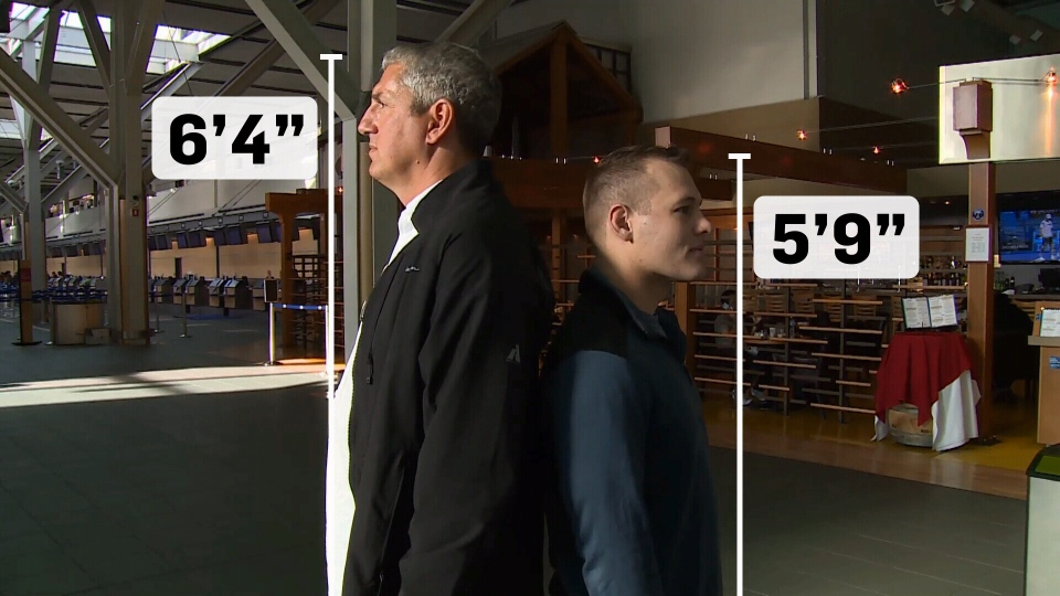 Bob Keenan is seven inches taller than the average Canadian man and says sitting in an average airline seat is painful. (CTV)