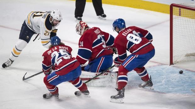Buffalo Sabres' Nikita Zadorov scores