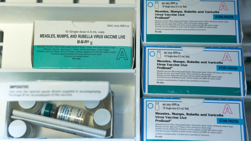 Boxes of single-doses vials of the measles-mumps-rubella virus vaccine live, or MMR vaccine and ProQuad vaccine are kept frozen inside a freezer at the practice of Dr. Charles Goodman in Northridge, Calif., Thursday, Jan. 29, 2015. (AP / Damian Dovarganes)