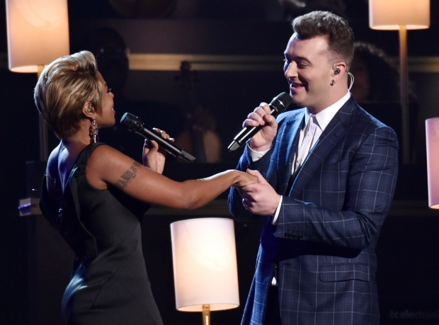 Mary J. Blige, left, and Sam Smith perform at the 57th annual Grammy Awards on Sunday, Feb. 8, 2015, in Los Angeles. (John Shearer / Invision)