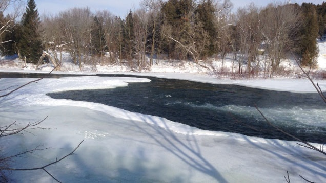 A section of open water is seen from the shore of the Saugeen River in Hanover, Ont. on Monday, Feb. 9, 2015. (Scott Miller / CTV London)