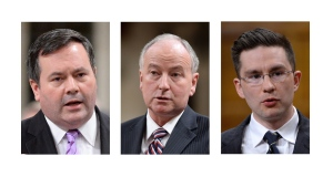 Three federal cabinet ministers were given new responsibilities Monday by Prime Minister Stephen Harper in the wake of former foreign affairs minister John Baird's abrupt resignation last week. From left: Jason Kenney, Rob Nicholson and Pierre Poilievre. (THE CANADIAN PRESS)
