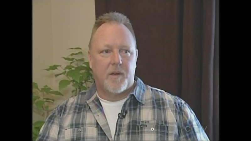 Tom Termeer, who lives with cluster headaches, speaks in London, Ont.