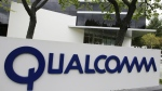 The corporate sign of Qualcomm Inc. is seen in front of its office in Santa Clara, Calif. on April 18, 2011. (AP / Paul Sakuma)