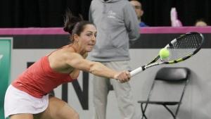 Canada's Gabriela Dabrowski returns to Czech Republic's Karolina Pliskova at the Fed Cup tennis tournament in Quebec City on Sunday, Feb. 8, 2015. (THE CANADIAN PRESS/Francis Vachon)