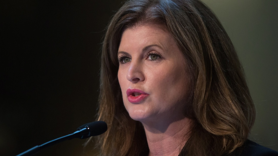 Federal Health Minister Rona Ambrose announces new regulations aimed at pharmaceutical companies during a news conference at Vancouver General Hospital in Vancouver, on Tuesday, Feb. 10, 2015. (Darryl Dyck / THE CANADIAN PRESS)
