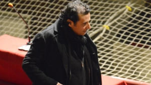 Francesco Schettino stands during a pause of his trial at the Grosseto court, Italy, Monday, Feb. 9, 2015. (AP / Giacomo Aprili)
