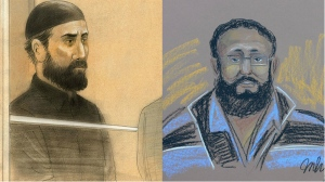 Artists' sketch shows Toronto-area resident Raed Jaser, right, and Montreal resident Chiheb Esseghaier appearing in court in Toronto and Montreal respectively on Tuesday, April 23, 2013. (John Mantha and MHP)